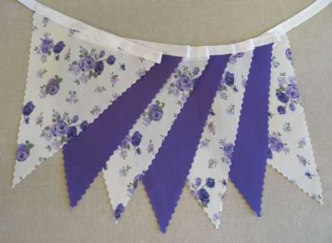 BUNTING - Purple 'Vintage Rose' and Plain Purple - 3m, 5m or 10m - Wedding